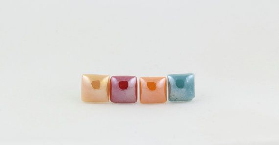 Square Stud Earrings Set - Mix and Match - Shape Earrings - Shiny - Red - Orange - Beige - Green