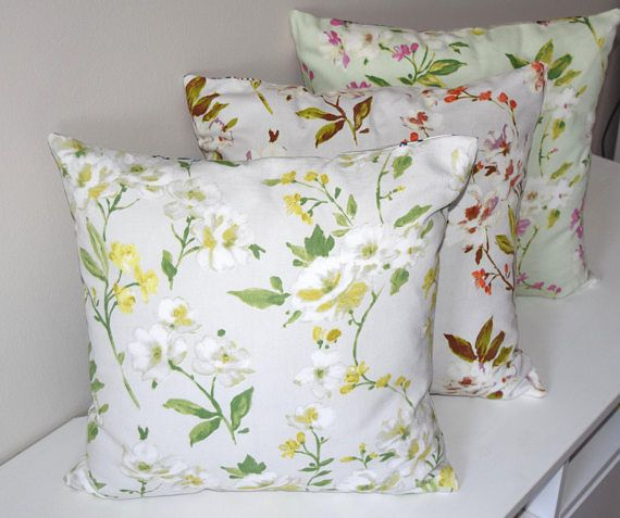 Flower Pillow Cover, Floral Cushion Cover, White Floral Pillow Cover, Floral Throw Pillow Cover, Pink Flower Cushion, Yellow Floral Cushion
