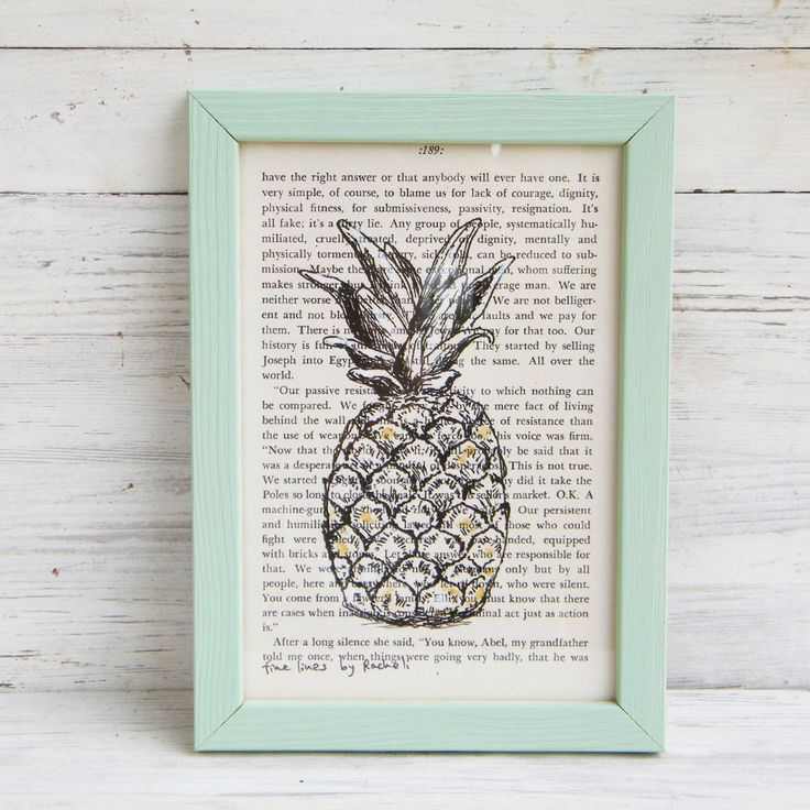 Pineapple print, Framed picture, Pineapple poster, Hipster room decor, Dictionary print, Book art, Dorm decor, Bedroom decor, Easter gift by Rachelsfinelines on Etsy
