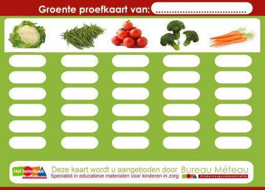 Gezond eten kinderen, Groente proefkaart