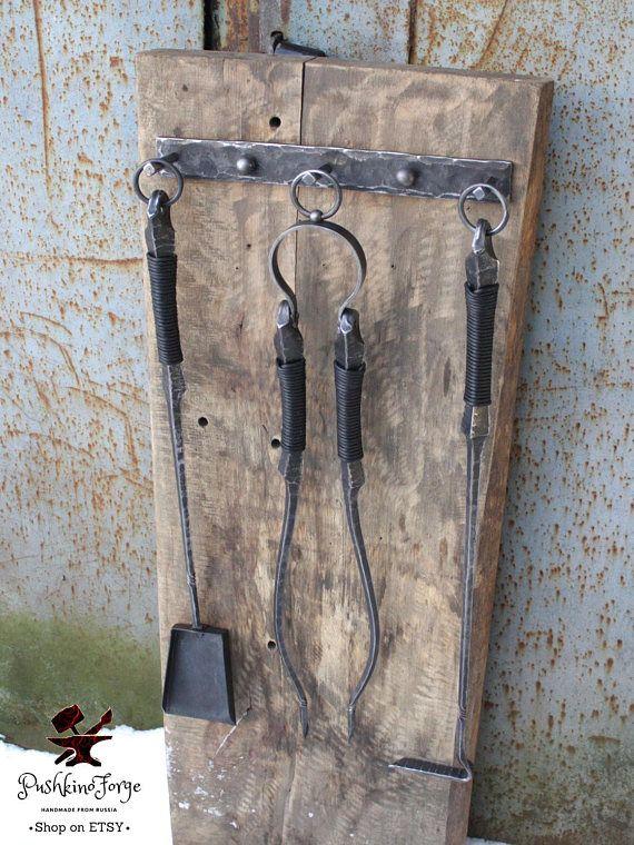 Fireplace Tool Set Fire Poker Tongs Shovel Wall Mounted Etsy In 2020 Fireplace Tool Set Fireplace Tools Fireplace Set