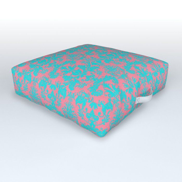 Pink Coral And Bright Teal Damask Large Pattern Outdoor Floor Cushion By Hightonridley Outdoorfloorcushion Teal Damask Outdoor Floor Cushions Floor Cushions