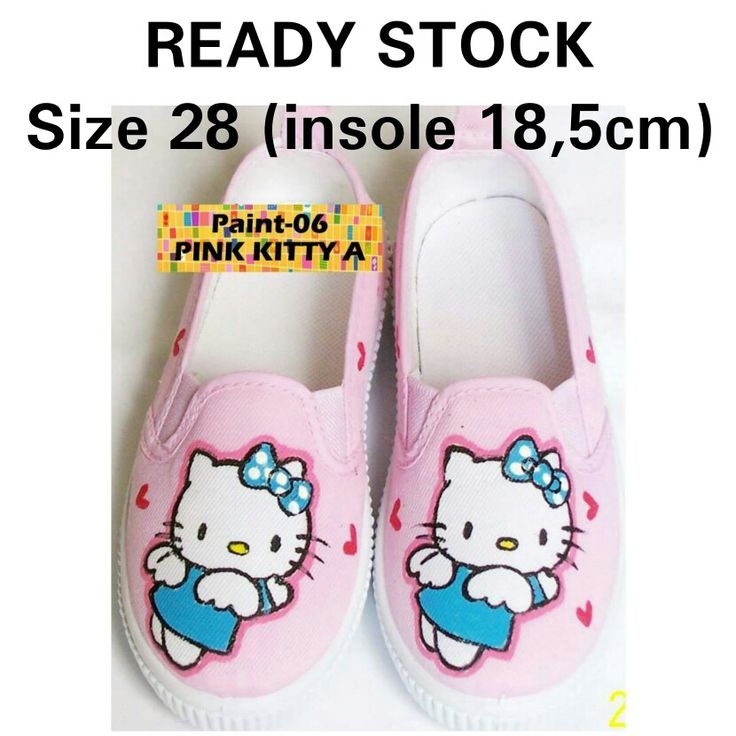 READY STOCK KIDS CANVAS SHOES KODE : Paint-06 Pink Kitty A Size 28 PRICE : Rp.175.000,- AVAILABLE SIZE (insole) : - Size 28 (18,5cm)  MATERIAL : Canvas, Sol karet lentur,Gambar dilukis tangan(hand painted) menggunakan cat khusus textil yang tidak akan pernah luntur.  FOR ORDER : SMS/Whatsapp 087777111986 PIN BB 766A6420 Facebook : Mayorishop  #pusatsepatubootsanak #canvasshoes #paintedshoes #kidsshoes #toddlershoes #familyshoes #womenshoes #hellokitty #hkshoes #sepatuimport #readystock…
