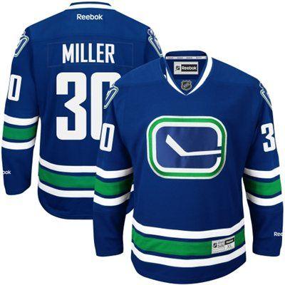 Mens Vancouver Canucks Ryan Miller Reebok Royal Blue Premier Player Alternate Jersey