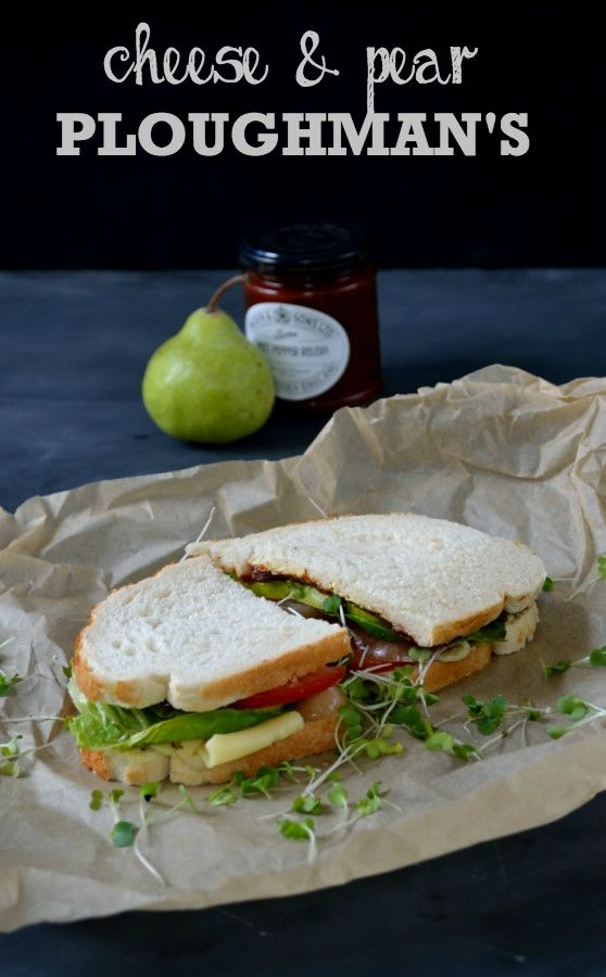 This Cheese & Pear Ploughman's Sandwich is the best of British lunchtime fayre with fruit chutney, pickled onions, cheese, tomato and lettuce.