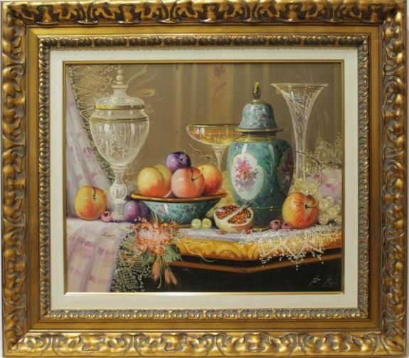 Michel : Classic Still life. Medium: Oil on canvas Measurements (cm): 78x69 Canvas measurements (cm): 55x46 Interior frame: Yes. In artistic circles of the flourishing Barcelona the talent and mastery of Roberto Michel was well known and admired. The great balanced composition of his still lifes rich in nuance and detail has gained awards at many prestigious contests and painting competitions at national and international level.  $722.49