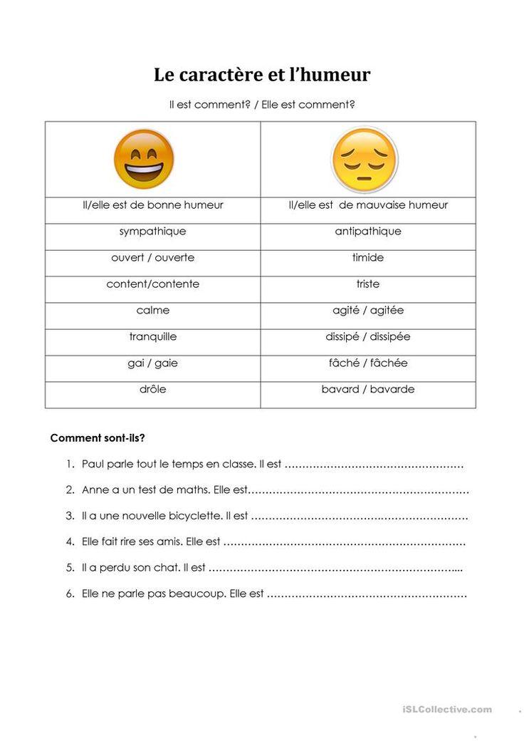 Le caractère et l'humeur - L'accord des adjectifs