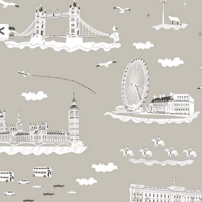 Great London Wallpaper for downstairs toilet in country house!