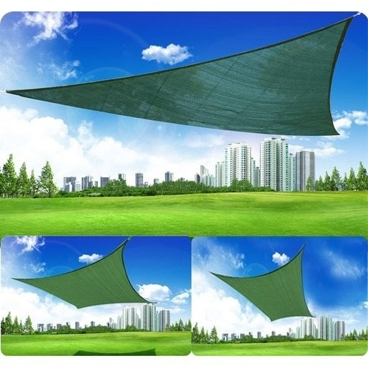Outsunny 10' Triangle Outdoor Patio Sun Shade Sail Canopy, Green (Fabric) #100110-033G
