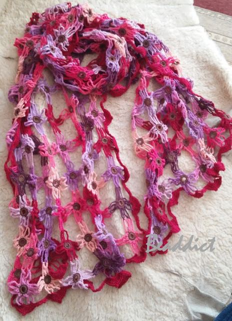Super lightweight scarf in shades of pink and purple. Designed and beaded by Beaddict. 100% cotton.