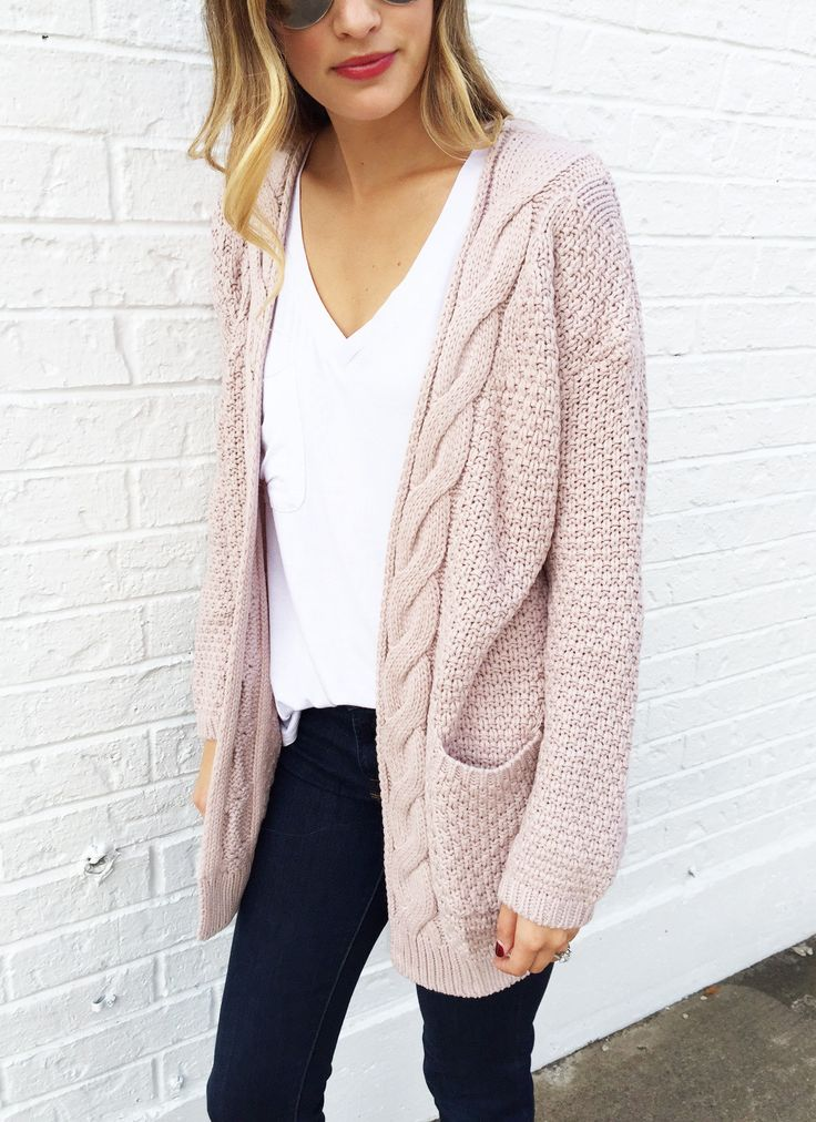 Bradley Cable Knit Cardigan In Blush