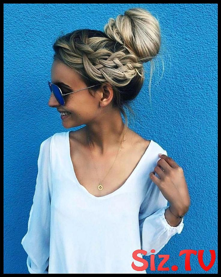 Messy Bun Blonde Messy Bun Side Braid Lazy Day Hairstyle Messy Hairstyles Summer…