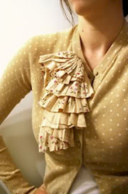 refashion-a-sweater - pretty fabric from an old blouse added as waterfall ruffle to sweater.