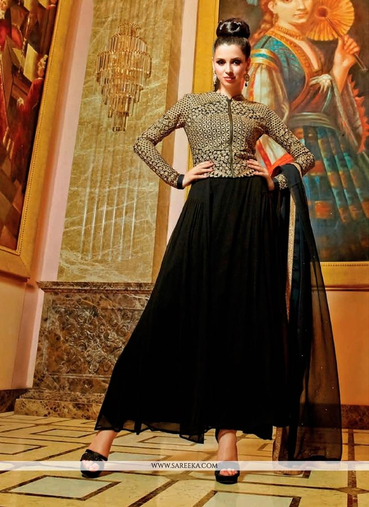 Be your own vogue icon with black georgette anarkali salwar kameez. The appealing embroidered and resham work a intensive characteristic of this attire. Comes with matching bottom and dupatta. (Slight...