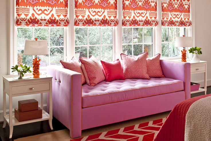 Pink and orange living room.Romans Shades, Girls Bedrooms, Phoebe Howard, Girls Room, Living Room, Studios Couch, Daybeds, Windows Treatments,  Day Beds