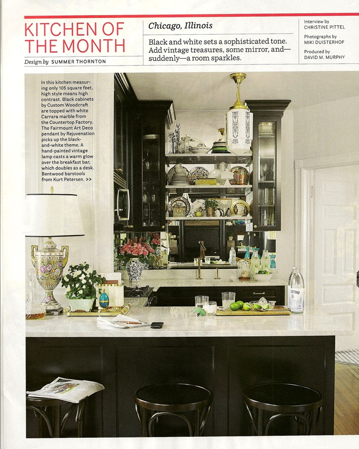 Summer Thornton- HB kitchen of the month love the dark timber, marble benchtop and bentwood stools