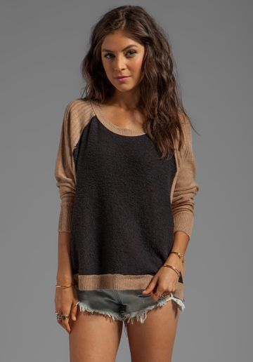 Tabbard Pullover Sweater in Black/Camel Combo - Free People