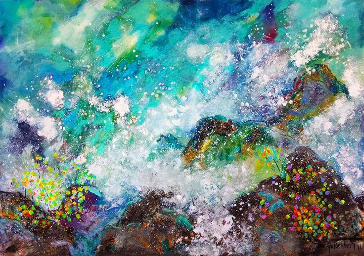 Frente a San Antonio Acrílico y Mixta sobre tela 180 x 130 cm. 8700 US$