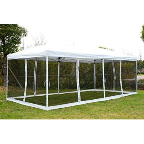 Outsunny 10 X 20 Easy Pop Up Canopy Tent With Removable Sides Flag Print Besedka