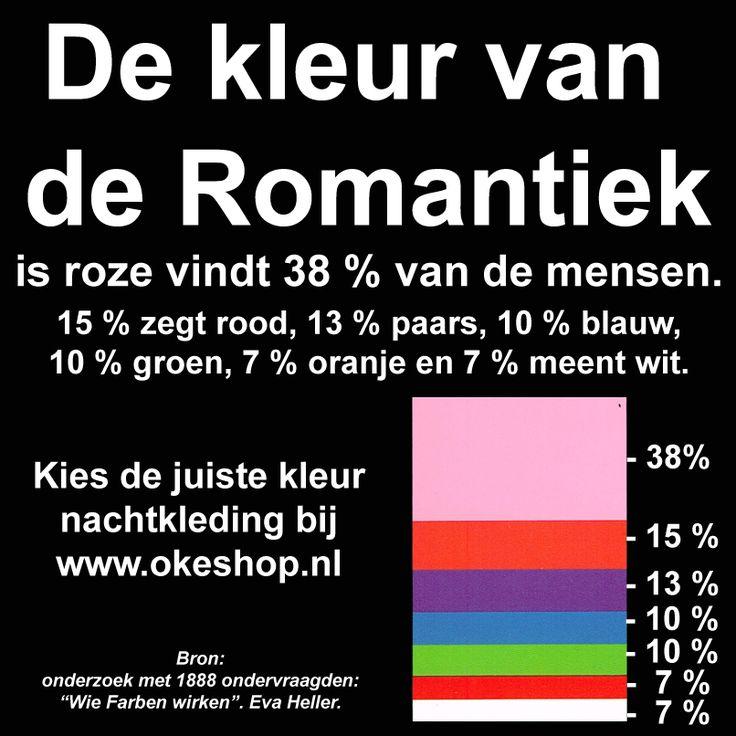 De kleur van de Romantiek is roze vindt 38 % van de mensen. Kies de juiste nachtkleding bij www.okeshop.nl #nachtkleding #nachtmode #pyjama #pyjamas #shortama #badjas #badjassen #nachthemd #huispak #romantiek