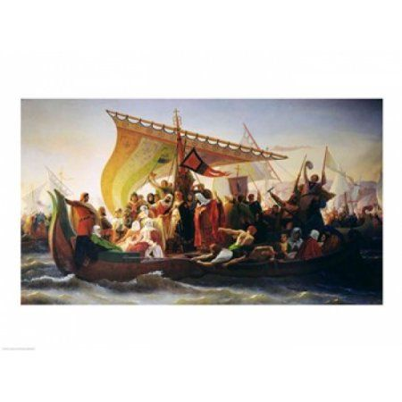 The Crossing of the Bosphorus by Godfrey of Bouillon Canvas Art - Emile Signol (24 x 18)