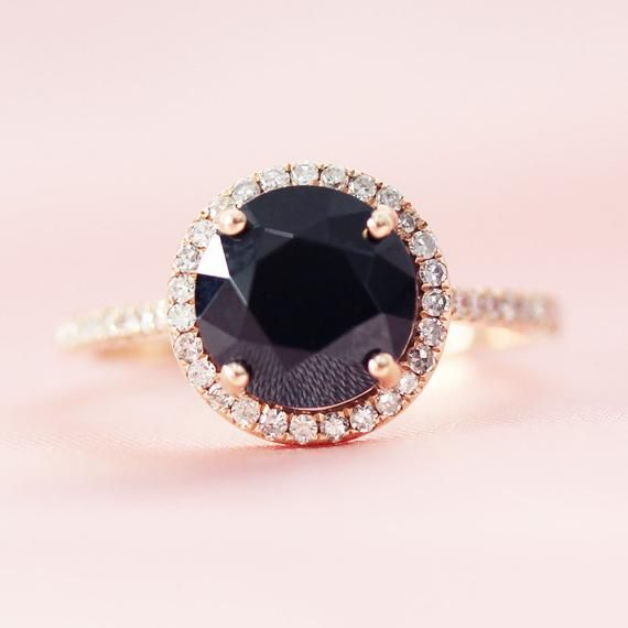 8mm Round Black Spinel Engagement Ring Diamonds Accent Wedding Etsy In 2020 Spinel Engagement Rings Black Spinel Ring White Gold Engagement Rings