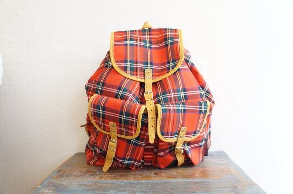 1970 Vintage Backpack / Red Tartan Canvas Backpack / Preppy School Backpack