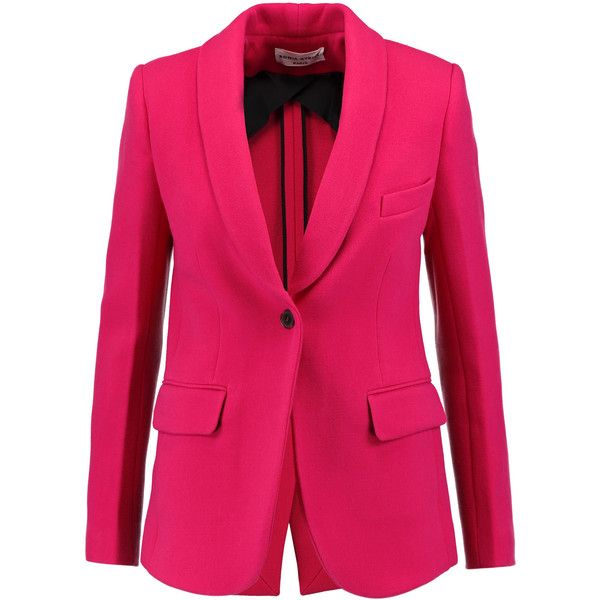 Sonia Rykiel - Wool-blend Blazer ($483) ❤ liked on Polyvore featuring outerwear, jackets, blazers, bubblegum, multi-color leather jackets, pink jacket, wool-blend blazer, colorful blazers and colorful jackets