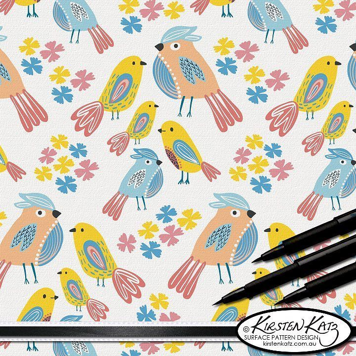 A few more birds ..... This is 'Birds of a Feather' design which will be available as fabric on @spoonflower just in time for the start of 2017 along with other designs from this collection which I designed for new born babies clothes blankets and room decor
