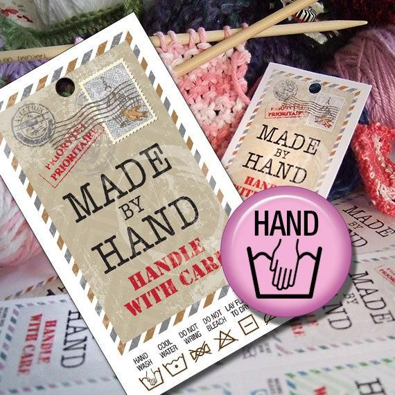 Hand Wash Laundry Care Tags Printables Hand Made Gifts Or Sales