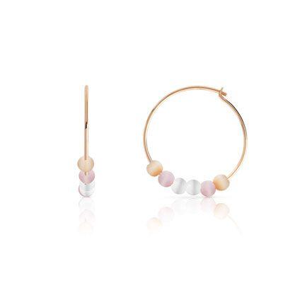 #CRÉOLES plaqué or rose perles imitations #MATY #Bijoux - www.maty.com