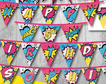 INSTANT DOWNLOAD Girl Superhero Party Banner Super Hero Birthday Baby