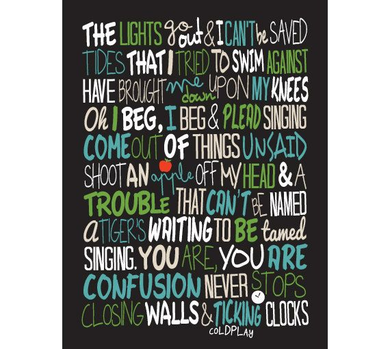 Coldplay Clocks / Song Lyric Typography Poster by CreativePrint