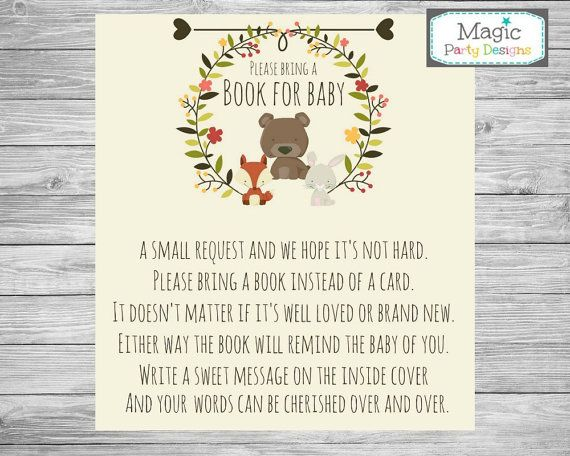 Woodland baby shower bring a book instead of by MagicPartyDesigns