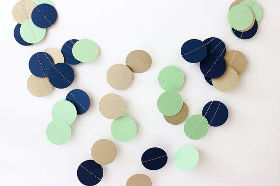 Mint+Navy+Gold Color Palette Wedding Garland Navy Gold & Mint Green Garland by MailboxHappiness, $10.00