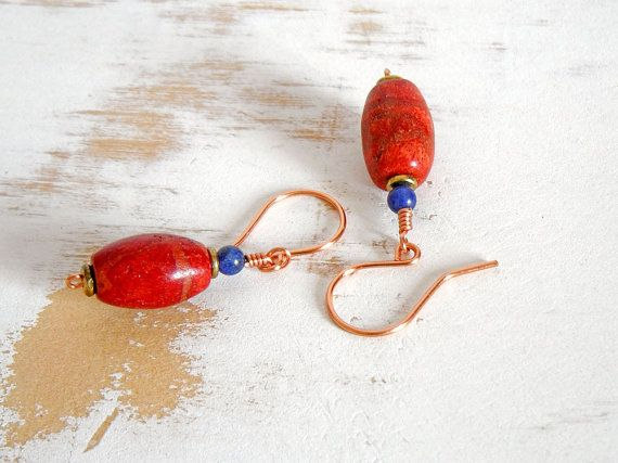 Copper Earrings Red Coral Earrings Copper Wire Jewelry by bluetina