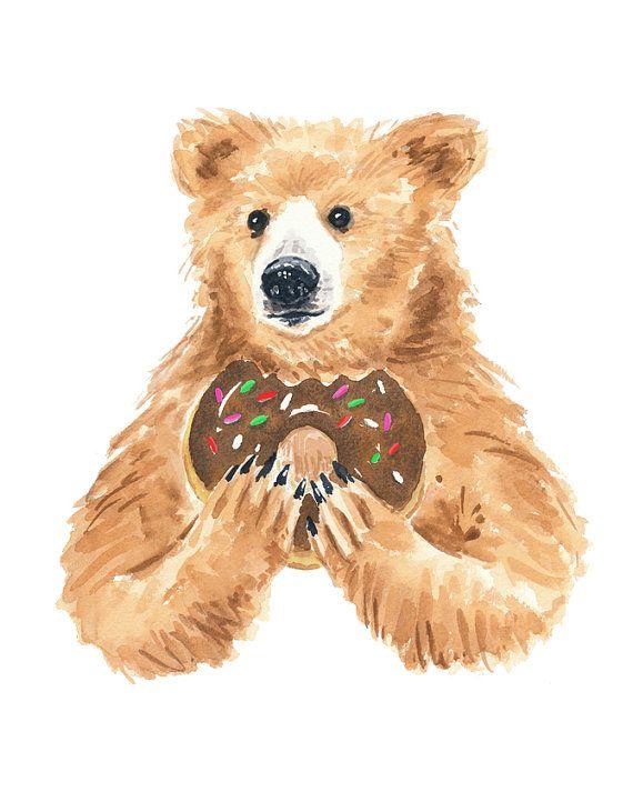 Grizzly Bear Watercolor PRINT - 11x14 PRINT, Bear Illustration, Nursery Art, Donut Watercolour