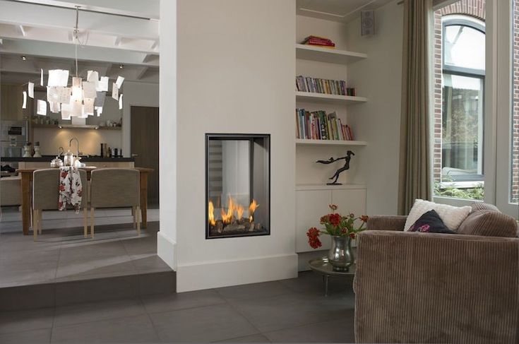 floating two way fireplace - Google Search