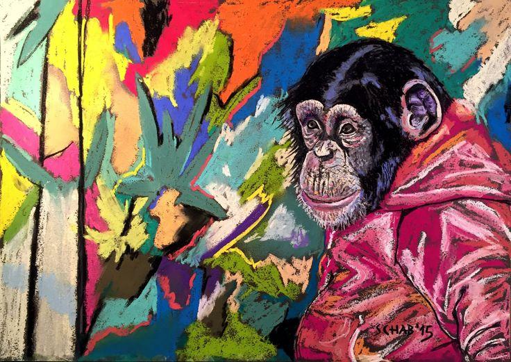 Chimpanzee- A3 paper, soft pastels