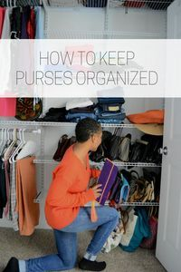 Learn how to organize a bedroom closet and purses in your house with one simple system. organize purses in closet with ease, diy closet kit, organize walk in closet, show storage, shoe closet kit, how to install closets yourself, how to keep purses organi