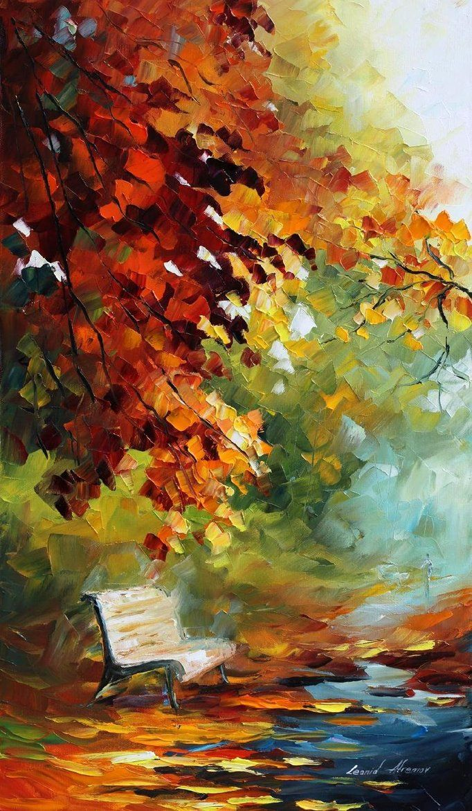 Aura Of October — PALETTE KNIFE Landscape Autumn Alley Modern Art Oil Painting…