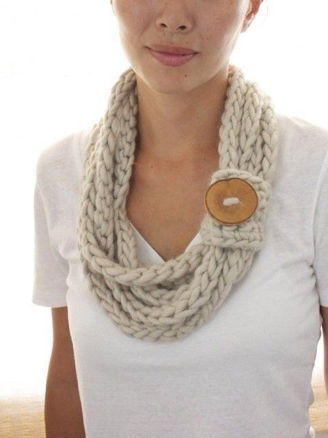 Single Strands Infinity scarf with large wooden button.