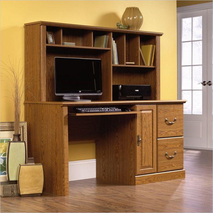 Sauder Orchard Hills Large Wood Computer Desk with Hutch in Carolina Oak - 401354