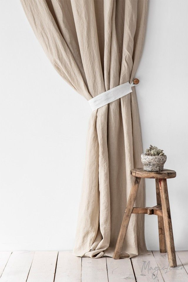 Linen Curtain Tie Back Set Of 2 In 2020 Curtains Curtain Tie