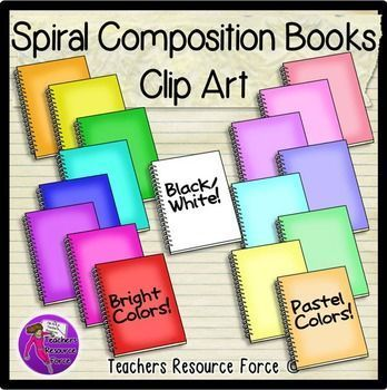 Spiral Composition Books clip art - 16 different colors and black line!