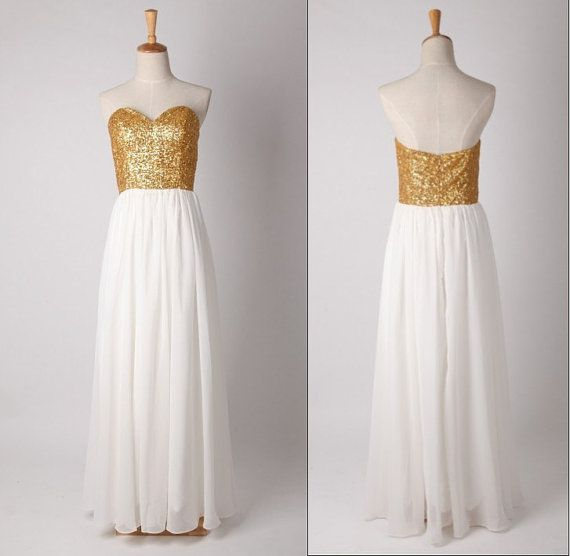 Custom made gold sequin lace prom dress chiffon prom gown for Gold sequin wedding dress