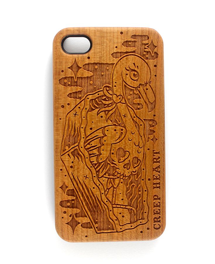 Horror Mingo Wood Phone Case for iPhone 4/4s.  Available online from the Creep Heart store (www.creepheart.com.au).   Artwork by Ella Mobbs.   Laser etching by Vector Etch (http://www.vectoretch.com.au/).