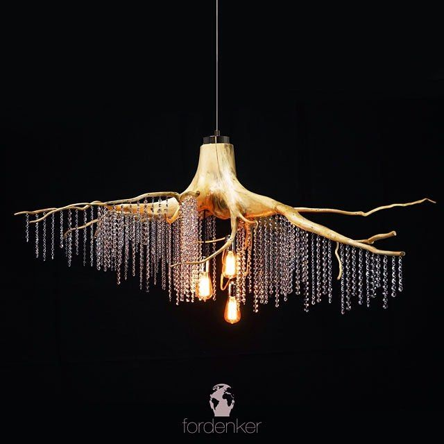 We try to give our products different looks. Whit vintage look lightbulbs and high gloss nickel plated brass elements this chandelier sets the environment in an elegant ambience.  Fordenker on instagram  #wooden #lamp #chandeliers #craft #aesthetic #highquality #future #interiordesign #lighting #elegant #extravagant