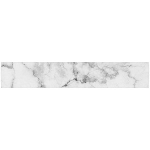 """Kess Original """"White Marble"""" Gray White Table Runner ($20) ❤ liked on Polyvore featuring home, kitchen & dining, table linens, backgrounds, filler, contemporary table runner, grey table runner, gray table linens, white table linens and white table runner"""