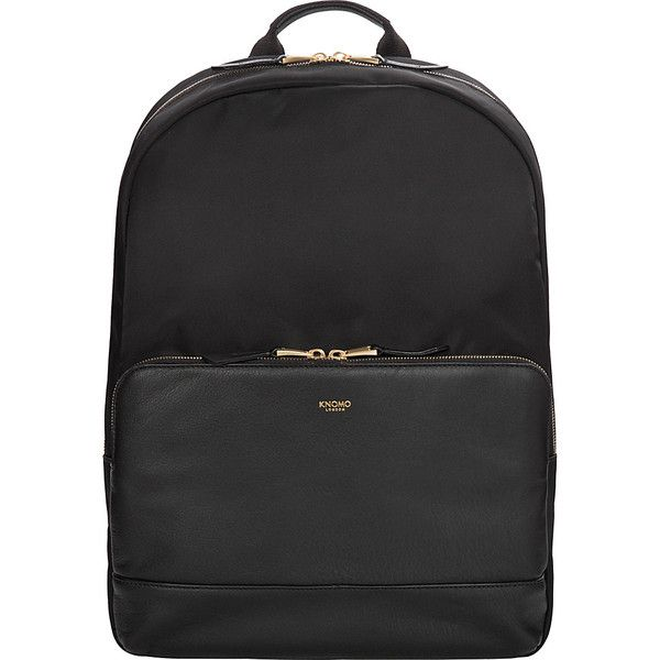 Knomo London Mayfair Nylon Mount Backpack ($249) ❤ liked on Polyvore featuring bags, backpacks, black, laptop rucksack, knomo bags, nylon bag, padded bag and backpack bags